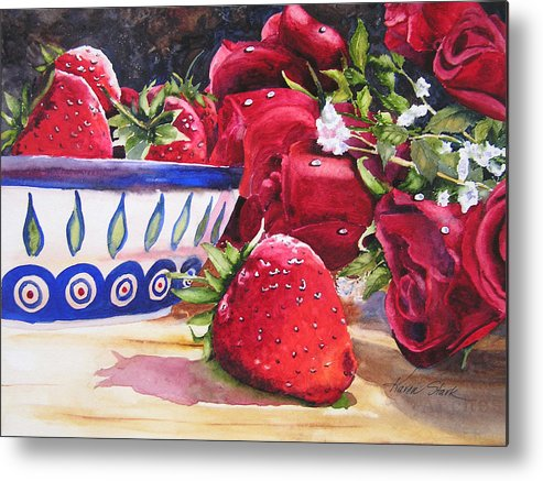 Strawberries Metal Print featuring the painting Strawberries And Roses by Karen Stark