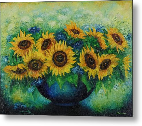 Flowers Metal Print featuring the painting Sunflowers No 1. by Evgenia Davidov