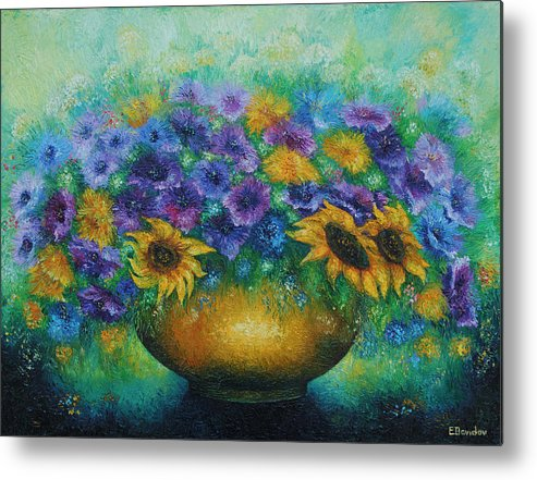 Flowers Metal Print featuring the painting Sunflowers No 2. by Evgenia Davidov