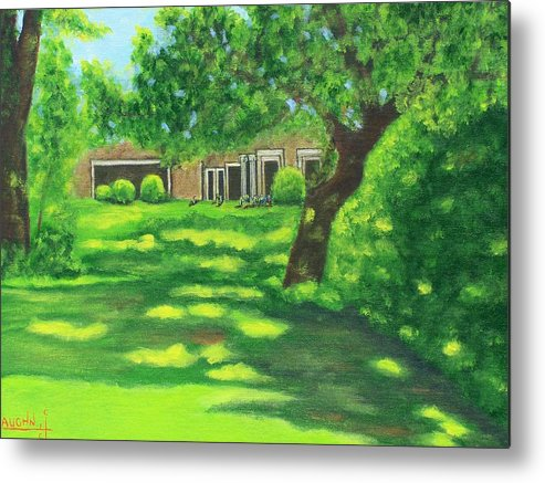 Landscape Metal Print featuring the painting Sunlit View by Charles Vaughn