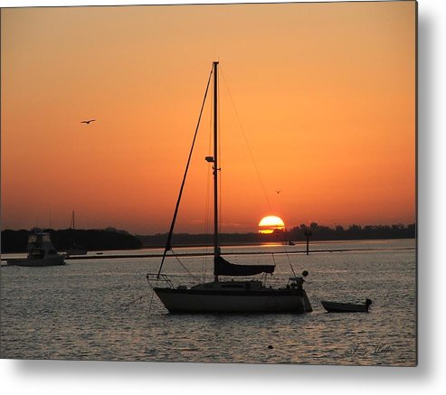 Landscape Metal Print featuring the photograph Sunrise On The Bay by Judy Waller
