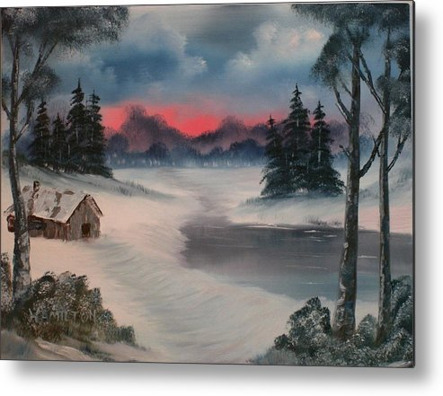 Oil Metal Print featuring the painting Sunset By The Lake by Larry Hamilton