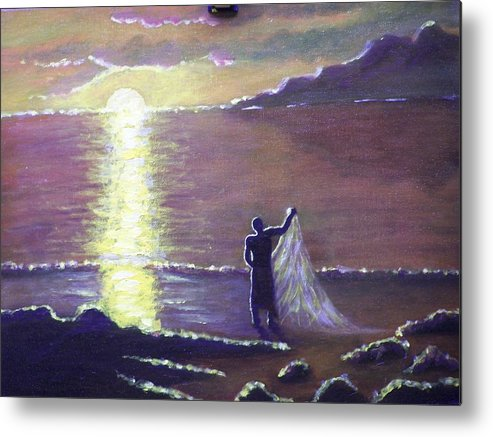 Landscape Metal Print featuring the painting Sunset Feast by Charles Vaughn