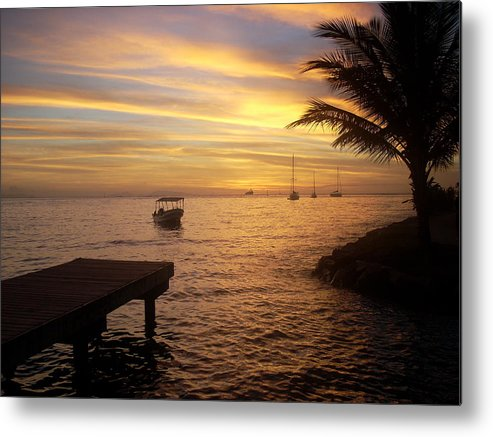 Sunset At The Dock In Fare Metal Print featuring the photograph Sunset In Huahine by Ileana Carreno