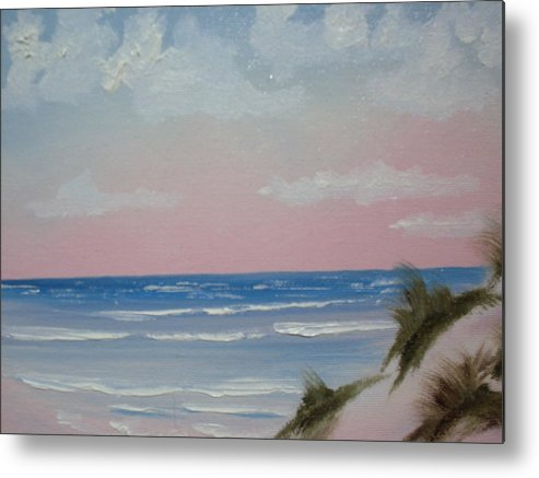 Landscape Oil Beach Metal Print featuring the painting Surfside by Warren Thompson