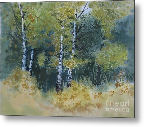 Birch Trees Metal Print featuring the painting Surrounded By Greenery by Diane Ellingham