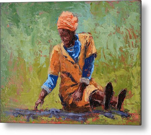 Figures Metal Print featuring the painting Tea Break by Yvonne Ankerman