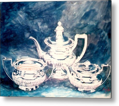 Teapot Metal Print featuring the painting Tea Pot by Efren Teves