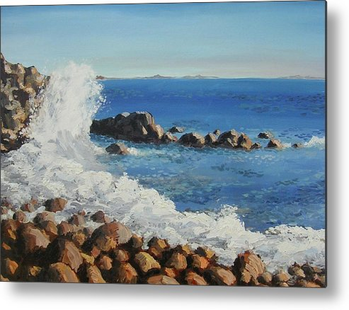 Seascape Metal Print featuring the painting The Bay by Janos Szatmari