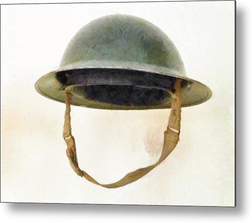 Brodie Metal Print featuring the photograph The British Brodie Helmet by Steve Taylor