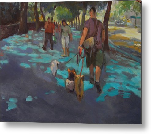 Dogs Metal Print featuring the painting The Dog Walker by Merle Keller