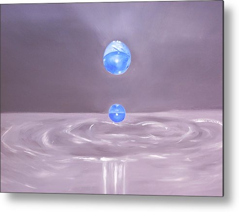 Nature Metal Print featuring the painting The Drop by Murielle Hebert