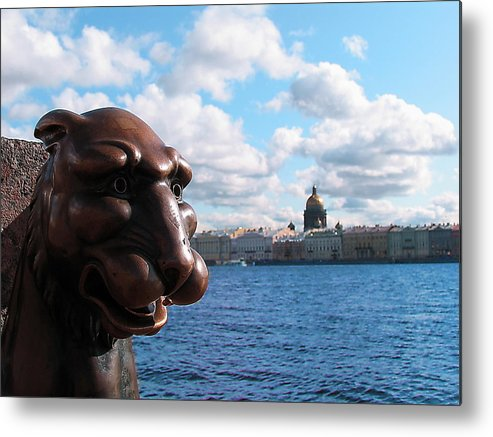 The Lion Remembers Much Russia Peterburg Metal Print featuring the photograph The Lion Which Remembers Much by Yury Bashkin
