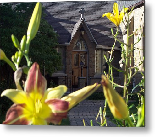Lily Metal Print featuring the photograph The Parish House With Lilys by Donielle Boal