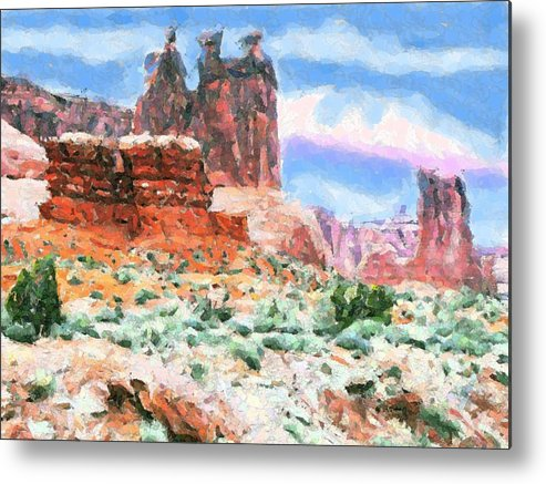 Archres National Monument Moab Utah Water Color Like Print Impressionistic Southwestern Art Southwester Themes Pastel Colors Rugged And Soft Desert Scenery Rock Shapes That Look Like Actual Things And People Metal Print featuring the digital art The Three Sisters by Annie Gibbons