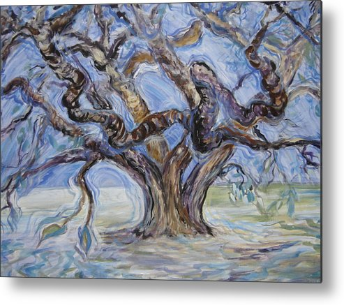 Landscape Metal Print featuring the painting Tree Of Natural Music by Kasi Kennedy