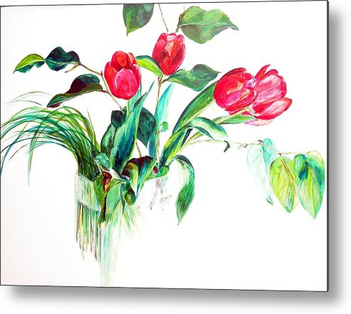Flower Metal Print featuring the painting Tulipes by Muriel Dolemieux