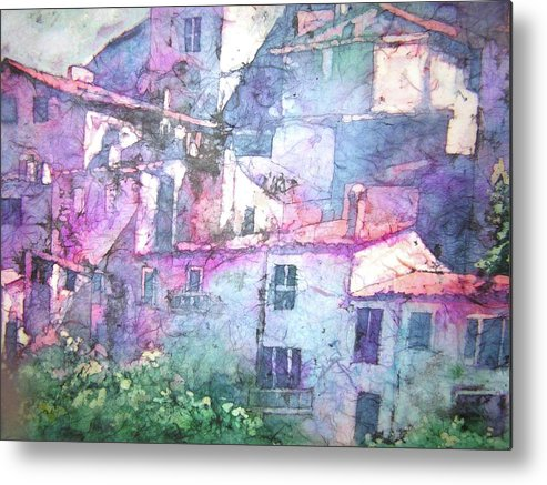 Batik Watercolor Capturing Sunlight Of Italian Buildings Metal Print featuring the painting Under The Tuscan Sun by Shirley Hathaway