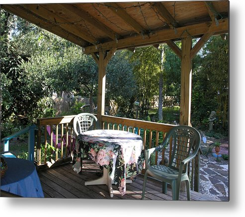 Florida Metal Print featuring the photograph Village Of The Arts - A Patio by Janis Beauchamp