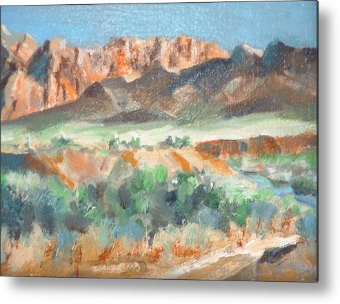 Landscape At First Light Virgin River Gorge Mesquite Metal Print featuring the painting Virgin River Gorge by Bryan Alexander