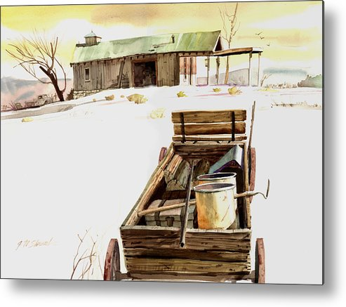 Watercolor Metal Print featuring the painting Wagon At White Sands by John Norman Stewart