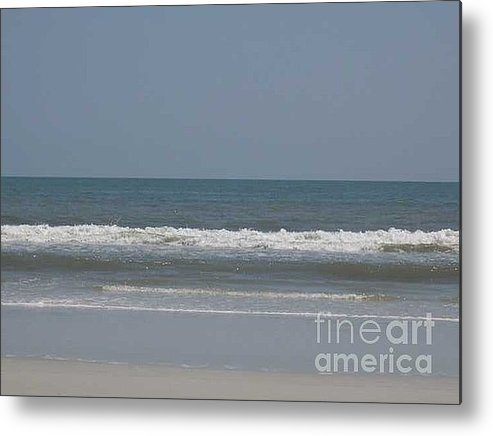 The Beach Near St. Augustine Metal Print featuring the photograph Watching The Waves by Barb Montanye Meseroll