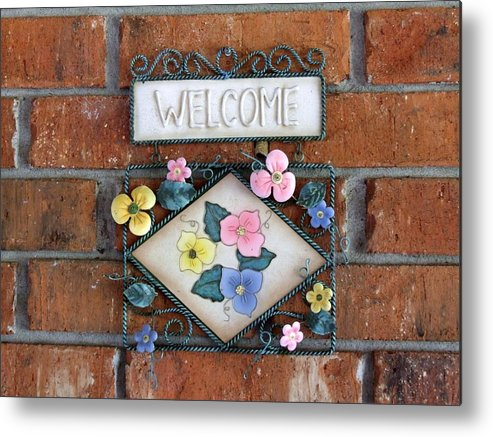 Welcome Sign Signage Ornament Metal Print featuring the photograph Welcome To Our Home by Linda Ebarb