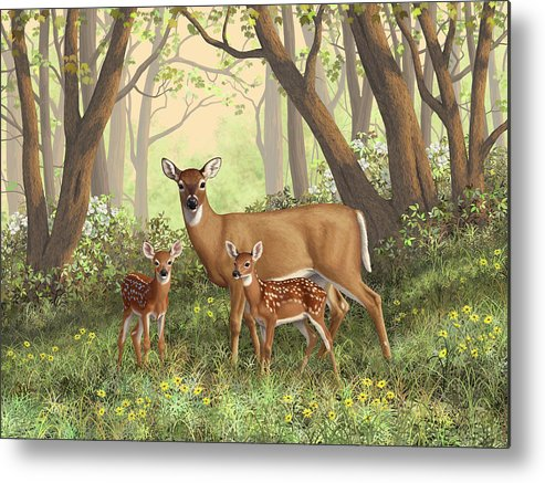 Whitetail Deer Metal Print featuring the painting Whitetail Doe And Fawns - Mom's Little Spring Blossoms by Crista Forest