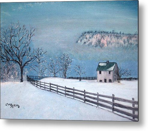 Landscape Metal Print featuring the painting Winter Refuge by L A Raven