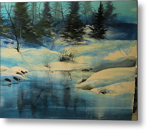 Landscape Metal Print featuring the painting Winterscape by Robert Carver