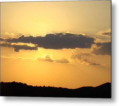 Yellow Metal Print featuring the photograph Yellow Sky Two by Ana Villaronga