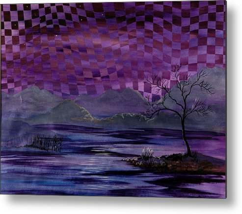 Dusk Metal Print featuring the painting Nightscape by Linda L Doucette
