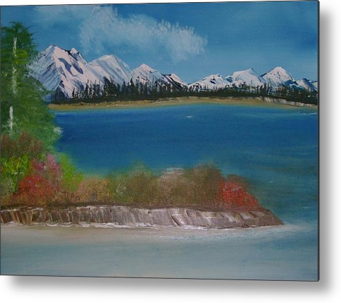 Mountains Metal Print featuring the painting Snow Capped Mountains by Dottie Briggs