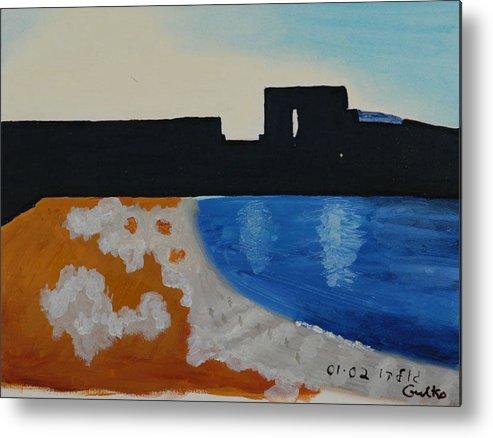 Beach Metal Print featuring the painting Herzliya Beach by Harris Gulko
