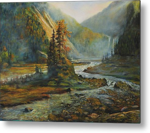 Landscape Metal Print featuring the painting Light After The Storm by Craig shanti Mackinnon