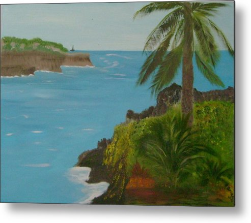 Hawaii Metal Print featuring the painting Hawaii Cliffs by Dottie Briggs
