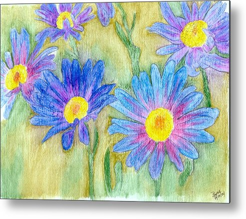 Flowers Metal Print featuring the painting Daisey Field by Margie Byrne