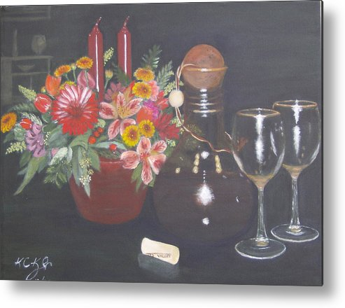 Flower Arrangement Metal Print featuring the painting Celebrating 60 by KC Knight