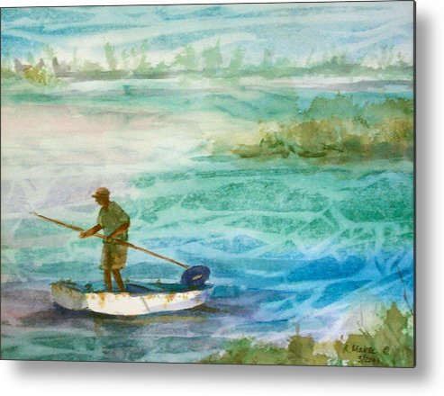 Seascape Metal Print featuring the painting Poling The Flats by Ruth Mabee
