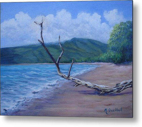 Landscape Metal Print featuring the painting Kihei Beach Tree by Maxine Ouellet