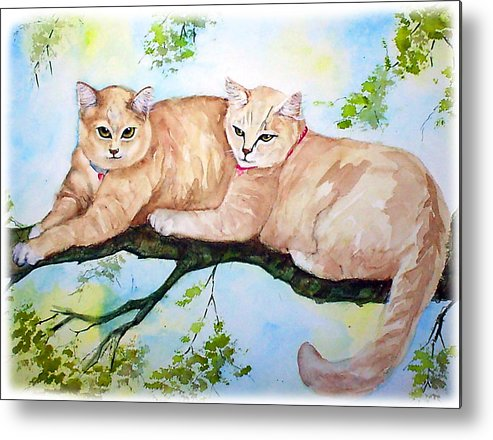 Feline Metal Print featuring the painting Milo And Timon by Gina Hall