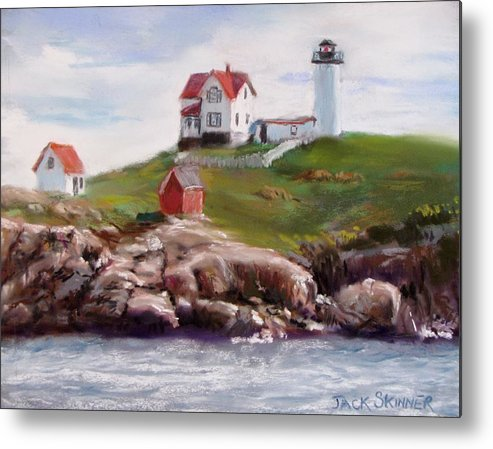 Lighthouse Metal Print featuring the painting Nubble Lighthouse In Pastel by Jack Skinner