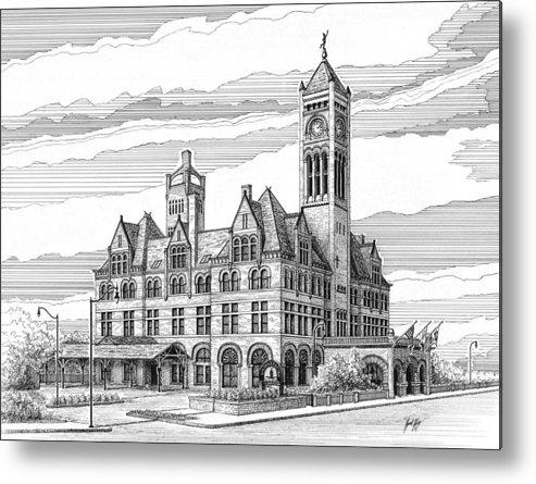 Union Station In Nashville Metal Print featuring the drawing Union Station In Nashville Tn by Janet King