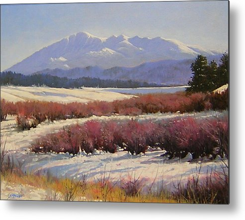 Landscape Metal Print featuring the painting 051209-1814 Pikes Peak - North View by Kenneth Shanika