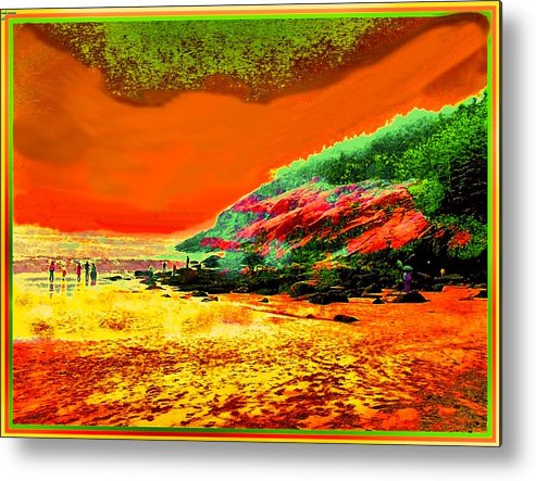 Colorful Landscape Metal Print featuring the painting 34g  Beach After A Storm by Ed Immar