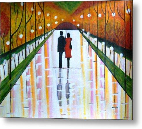 Romantic Painting Figures Romance Umbrella Rain Green Red Orange Grass People Lights Park Garden Tree Reflection Path Valentine Love Metal Print featuring the painting A Rainy Dayii by Manjiri Kanvinde