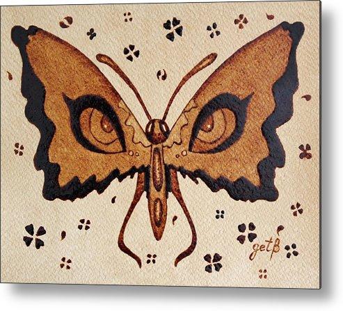 Butterfly Coffee Painting Abstract Metal Print featuring the painting Abstract Butterfly Coffee Painting by Georgeta Blanaru