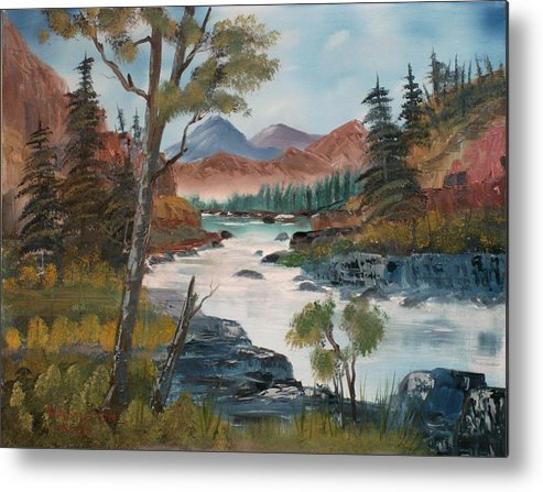 Oil Metal Print featuring the painting Along Canyon Drive Paradise Montana by Larry Hamilton