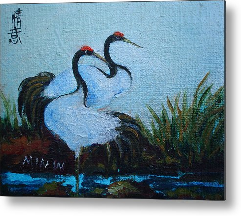Asian Cranes Metal Print featuring the painting Asian Cranes 2 by Min Wang