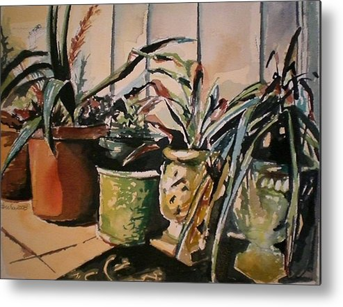 Potted Plants Metal Print featuring the painting At The Doorstep by Aleksandra Buha